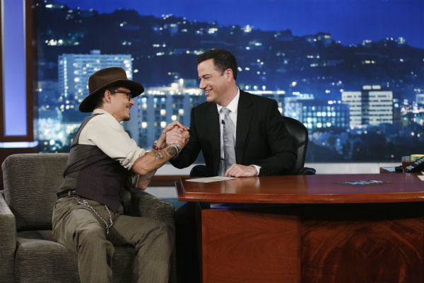"<div class=""meta ""><span class=""caption-text "">Johnny Depp talks to host Jimmy Kimmel on the ABC late-night talk show 'Jimmy Kimmel Live!' on July 1, 2013. Depp appeared on the program to promote the new Disney film 'The Lone Ranger,' in which he plays Tonto. (ABC / Randy Holmes)</span></div>"