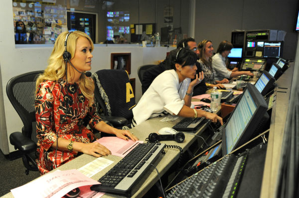 Carrie Underwood appears in the control room of the ABC Television studios before co-hosting 'Good Morning America' ('GMA') on Monday, Aug. 12, 2013.
