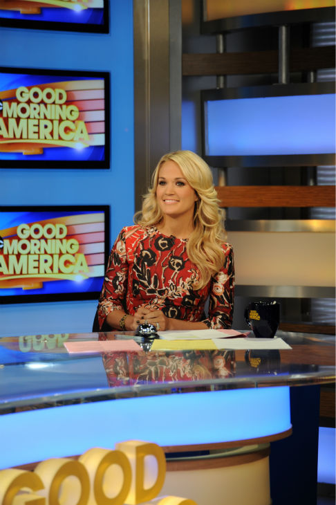 "<div class=""meta ""><span class=""caption-text "">Carrie Underwood co-hosts 'Good Morning America' ('GMA') on Monday, Aug. 12, 2013.  (ABC Photo / Donna Svennevik)</span></div>"