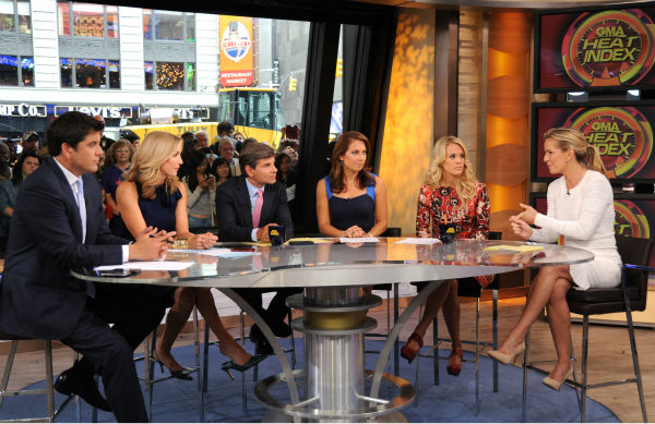 L-R: Presenters Josh Elliot, Lara Spencer, George Stephanopoulos, Ginger Zee, guest co-host Carrie Underwood and Dr. Jennifer Ashton appear on ABC&#39;s &#39;Good Morning America&#39; &#40;&#39;GMA&#39;&#41; on Aug. 12, 2013.  <span class=meta>(ABC Photo &#47; Donna Svennevik)</span>
