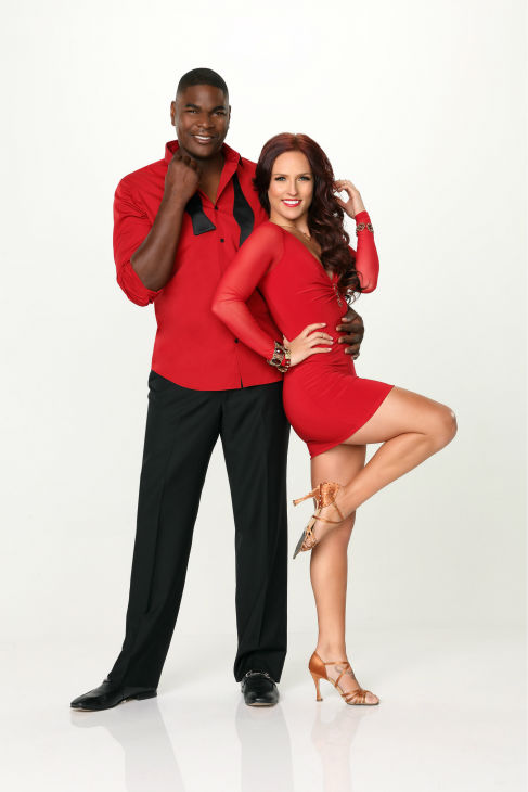 "<div class=""meta image-caption""><div class=""origin-logo origin-image ""><span></span></div><span class=""caption-text"">'Dancing With the Stars' season 17 cast member Keyshawn Johnson, a former NFL wide receiver, appears with dance partner Sharna Burgess in an official cast photo, ahead of the Fall 2013 premiere of the ABC show. (ABC Photo / Craig Sjodin)</span></div>"