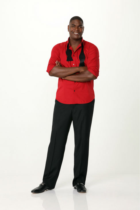 &#39;Dancing With The Stars&#39; cast member, ESPN analyst and former NFL player Keyshawn Johnson appears in an official cast photo ahead of the Fall 2013 premiere of the ABC show. His partner is Sharna Burgess. <span class=meta>(ABC Photo &#47; Craig Sjodin)</span>