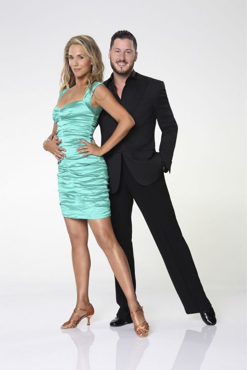'Dancing With the Stars' season 17 cast member Elizabeth Berkley Lauren appears with dance partner Val Chmerkovskiy in an official cast photo, ahead of the Fall 2013 premiere of the ABC show.