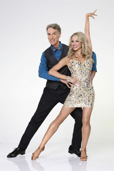 &#39;Dancing With the Stars&#39; season 17 cast member Bill Nye the &#39;Science Guy&#39; appears with dance partner Tyne Stecklein in an official cast photo, ahead of the Fall 2013 premiere of the ABC show. <span class=meta>(ABC Photo &#47; Craig Sjodin)</span>