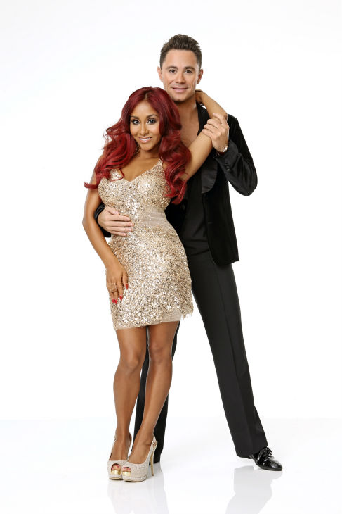 "<div class=""meta ""><span class=""caption-text "">'Dancing With the Stars' season 17 cast member Nicole 'Snooki' Polizzi, the breakout star of the MTV reality show 'Jersey Shore,' appears with dance partner Sasha Farber in an official cast photo, ahead of the Fall 2013 premiere of the ABC show. (ABC Photo / Craig Sjodin)</span></div>"