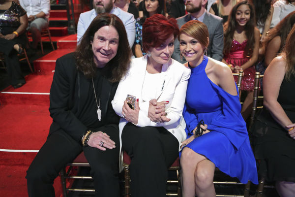 'Dancing With The Stars' competitor Jack Osbourne's parents, rocker Ozzy Osbourne and Sharon Osbourne, and wife Lisa Stelly sit in the studio audience during a live taping of the season 17 debut.