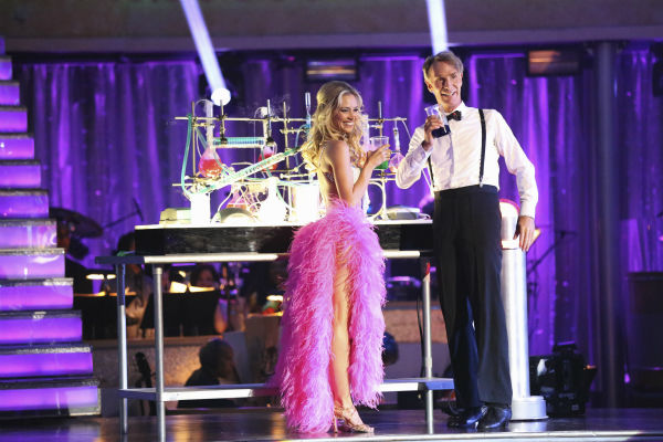 Bill Nye and Tyne Stecklein prepare to dance the Cha Cha Cha on week one of 'Dancing With The Stars' on Sept. 16, 2013. They received 14 out of 30 points from the judges.