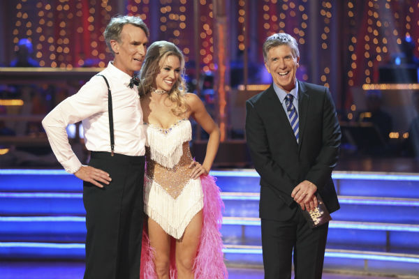 Bill Nye and Tyne Stecklein prepare danced the Cha Cha Cha on week one of 'Dancing With The Stars' on Sept. 16, 2013. They received 14 out of 30 points from the judges.