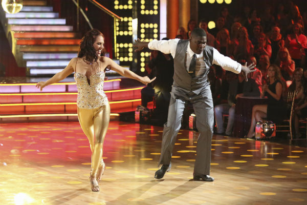 "<div class=""meta ""><span class=""caption-text "">Keyshawn Johnson and Sharna Burgess dance the Cha Cha Cha on week one of 'Dancing With The Stars' on Sept. 16, 2013. They received 17 out of 30 points from the judges. (ABC Photo / Adam Taylor)</span></div>"
