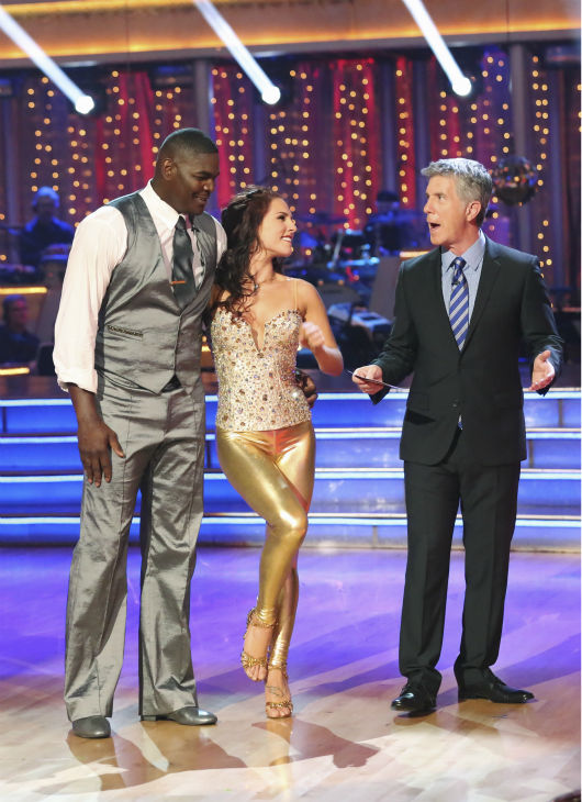 "<div class=""meta ""><span class=""caption-text "">Keyshawn Johnson and Sharna Burgess danced the Cha Cha Cha on week one of 'Dancing With The Stars' on Sept. 16, 2013. They received 17 out of 30 points from the judges. (ABC Photo / Adam Taylor)</span></div>"