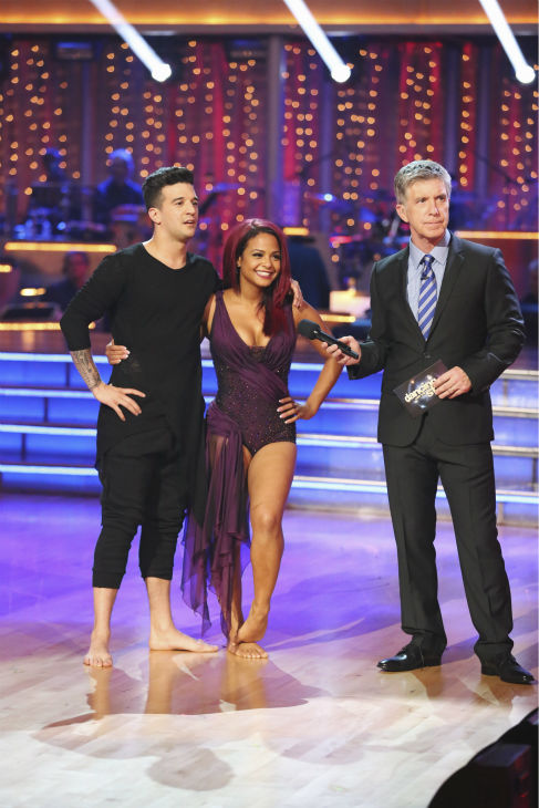 "<div class=""meta ""><span class=""caption-text "">Christina Milian and Mark Ballas danced the Contemporary on week one of 'Dancing With The Stars' on Sept. 16, 2013. They received 22 out of 30 points from the judges. (ABC Photo / Adam Taylor)</span></div>"