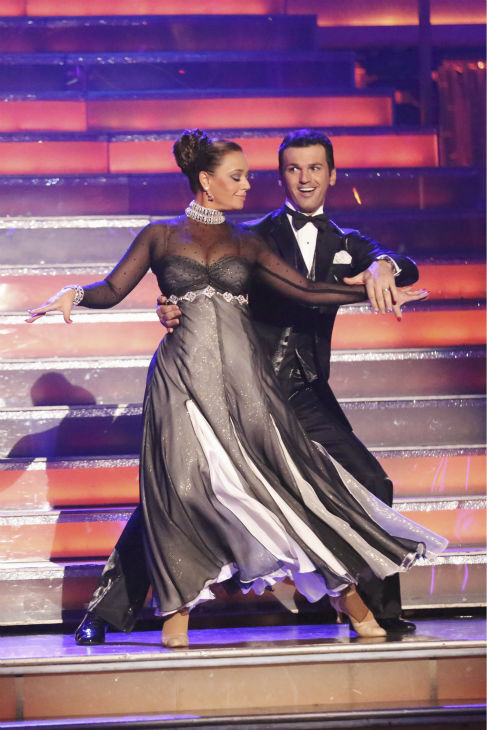 Leah Remini and Tony Dovolani dance the Foxtrot on week one of 'Dancing With The Stars' on Sept. 16, 2013. They received 21 out of 30 points from the judges.