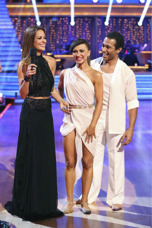 "<div class=""meta ""><span class=""caption-text "">Corbin Bleu and Karina Smirnoff danced the Contemporary on week one of 'Dancing With The Stars' on Sept. 16, 2013. They received 24 out of 30 points from the judges. Also pictured: Co-host Brooke Burke-Charvet (ABC Photo / Adam Taylor)</span></div>"