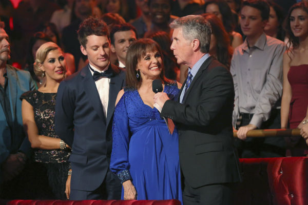 "<div class=""meta ""><span class=""caption-text "">Valerie Harper and Tristan MacManus danced the Foxtrot on week one of 'Dancing With The Stars' on Sept. 16, 2013. They received 21 out of 30 points from the judges. Also pictured: Co-host Tom Bergereon. (ABC Photo / Adam Taylor)</span></div>"