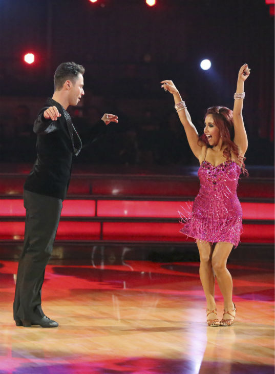 Nicole &#39;Snooki&#39; Polizzi and Sasha Farber dance the Cha Cha Cha on week one of &#39;Dancing With The Stars&#39; on Sept. 16, 2013. They received 23 out of 30 points from the judges. <span class=meta>(ABC Photo &#47; Adam Taylor)</span>