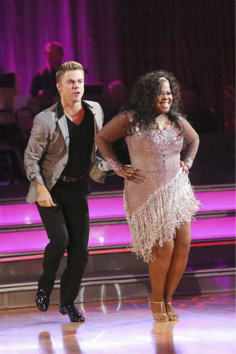 "<div class=""meta ""><span class=""caption-text "">Amber Riley and Derek Hough dance the Cha Cha Cha on week one of 'Dancing With The Stars' on Sept. 16, 2013. They received 27 out of 30 points from the judges. (ABC Photo / Adam Taylor)</span></div>"
