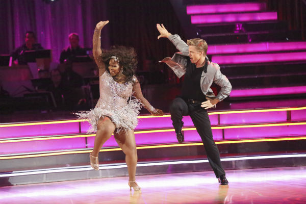 Amber Riley and Derek Hough dance the Cha Cha Cha on week one of 'Dancing With The Stars' on Sept. 16, 2013. They received 27 out of 30 points from the judges.