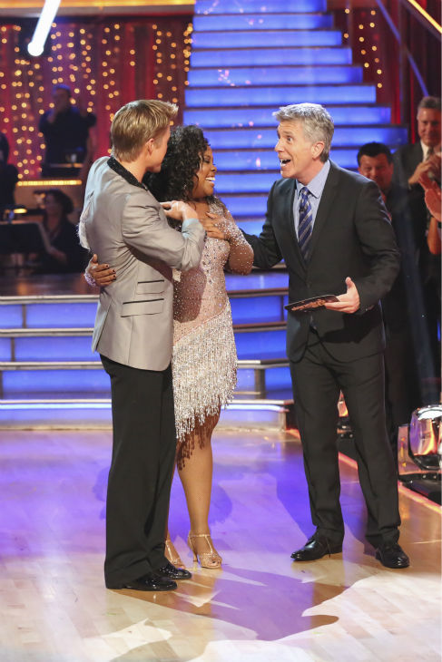 "<div class=""meta ""><span class=""caption-text "">Amber Riley and Derek Hough danced the Cha Cha Cha on week one of 'Dancing With The Stars' on Sept. 16, 2013. They received 27 out of 30 points from the judges. (ABC Photo / Adam Taylor)</span></div>"