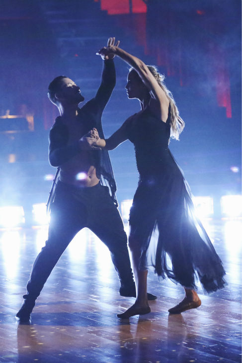 "<div class=""meta ""><span class=""caption-text "">Elizabeth Berkley and Val Chmerkovskiy dance the Contemporary on week one of 'Dancing With The Stars' on Sept. 16, 2013. They received 24 out of 30 points from the judges. (ABC Photo / Adam Taylor)</span></div>"