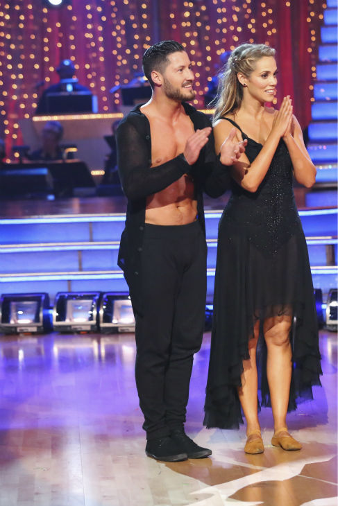 Elizabeth Berkley and Val Chmerkovskiy dance the Contemporary on week one of 'Dancing With The Stars' on Sept. 16, 2013. They received 24 out of 30 points from the judges.