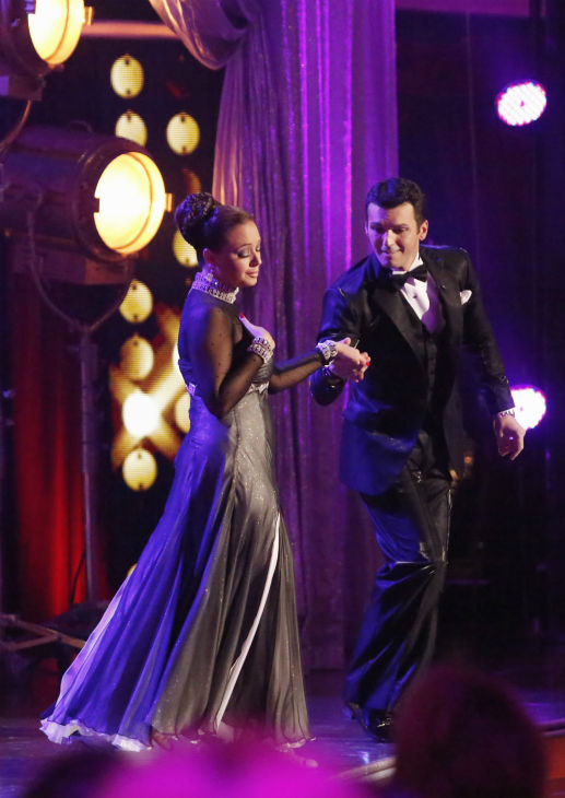 Leah Remini and Tony Dovolani prepare to dance the Foxtrot on week one of 'Dancing With The Stars' on Sept. 16, 2013. They received 21 out of 30 points from the judges