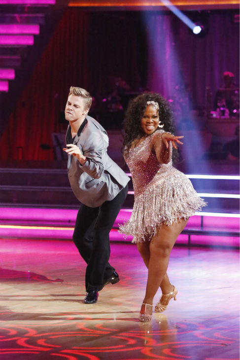 "<div class=""meta image-caption""><div class=""origin-logo origin-image ""><span></span></div><span class=""caption-text"">Amber Riley and Derek Hough dance the Cha Cha Cha on week one of 'Dancing With The Stars' on Sept. 16, 2013. They received 27 out of 30 points from the judges. (ABC Photo / Adam Taylor)</span></div>"