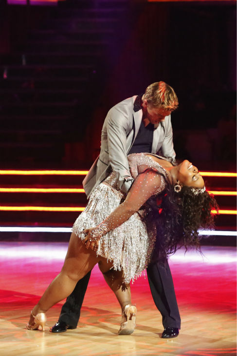 Amber Riley and Derek Hough dance the Cha Cha Cha on week one of 'Dancing With The Stars' on Sept. 16, 2013.