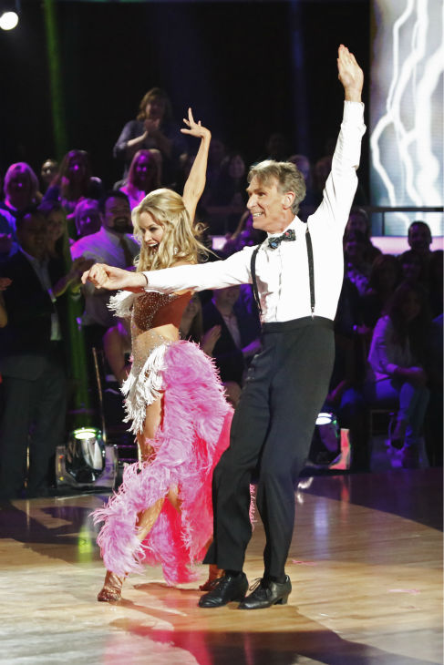 Bill Nye and Tyne Stecklein dance the Cha Cha Cha on week one of 'Dancing With The Stars' on Sept. 16, 2013.