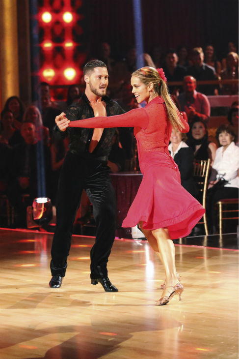 Elizabeth Berkley and Val Chmerkovskiy dance the Samba on week 2 of 'Dancing With The Stars' on Sept. 23, 2013. They received 25 out of 30 points from the judges.