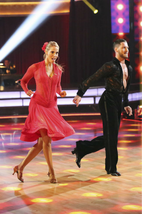 "<div class=""meta ""><span class=""caption-text "">Elizabeth Berkley and Val Chmerkovskiy dance the Samba on week 2 of 'Dancing With The Stars' on Sept. 23, 2013. They received 25 out of 30 points from the judges. (ABC Photo / Adam Taylor)</span></div>"