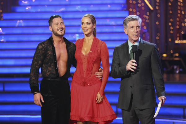 Elizabeth Berkley and Val Chmerkovskiy await their fate on week 2 of 'Dancing With The Stars' on Sept. 23, 2013. They received 25 out of 30 points from the judges for their Samba.