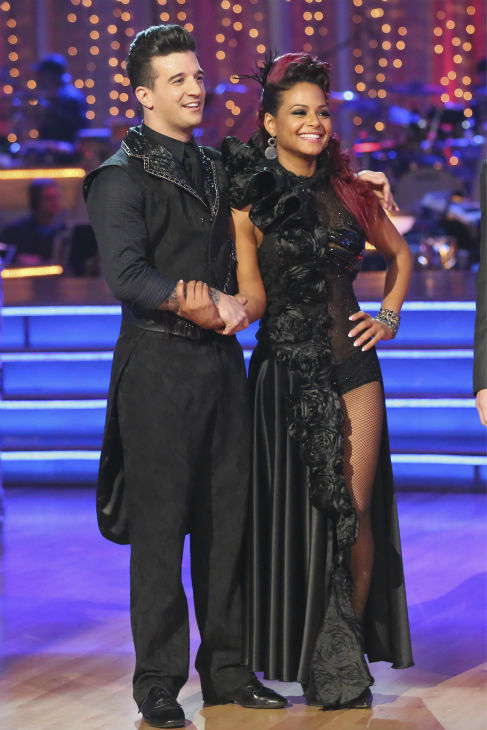 "<div class=""meta image-caption""><div class=""origin-logo origin-image ""><span></span></div><span class=""caption-text"">Christina Milian and Mark Ballas await their fate on week 2 of 'Dancing With The Stars' on Sept. 23, 2013. They received 25 out of 30 points from the judges for their Paso Doble. (ABC Photo / Adam Taylor)</span></div>"