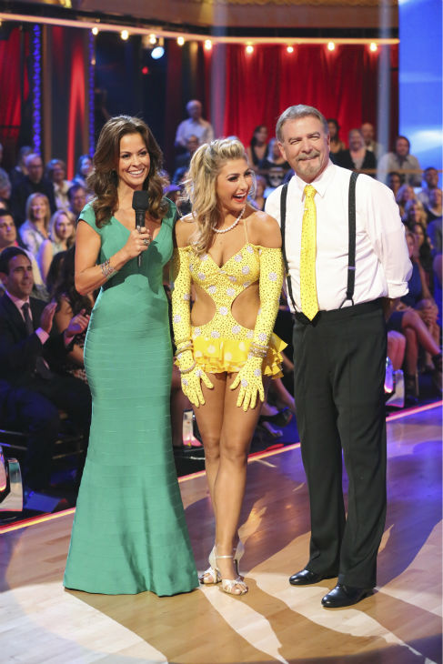 "<div class=""meta ""><span class=""caption-text "">Bill Engvall and Emma Slater await their fate on week 2 of 'Dancing With The Stars' on Sept. 23, 2013. They received 21 out of 30 points from the judges for their Jive. (ABC Photo / Adam Taylor)</span></div>"