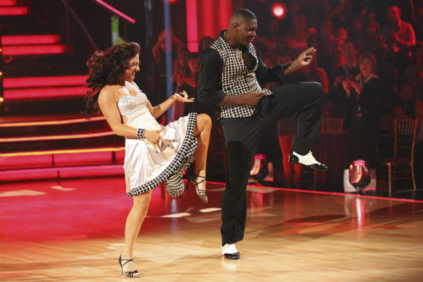"<div class=""meta ""><span class=""caption-text "">Keyshawn Johnson and Sharna Burgess dance the Samba on week 2 of 'Dancing With The Stars' on Sept. 23, 2013. They received 18 out of 30 points from the judges. (ABC Photo / Adam Taylor)</span></div>"
