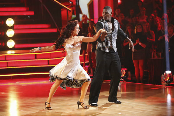 "<div class=""meta image-caption""><div class=""origin-logo origin-image ""><span></span></div><span class=""caption-text"">Keyshawn Johnson and Sharna Burgess dance the Samba on week 2 of 'Dancing With The Stars' on Sept. 23, 2013. They received 18 out of 30 points from the judges. (ABC Photo / Adam Taylor)</span></div>"