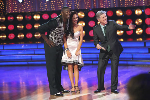 "<div class=""meta ""><span class=""caption-text "">Keyshawn Johnson and Sharna Burgess await their fate on week 2 of 'Dancing With The Stars' on Sept. 23, 2013. They received 18 out of 30 points from the judges for their Samba. (ABC Photo / Adam Taylor)</span></div>"