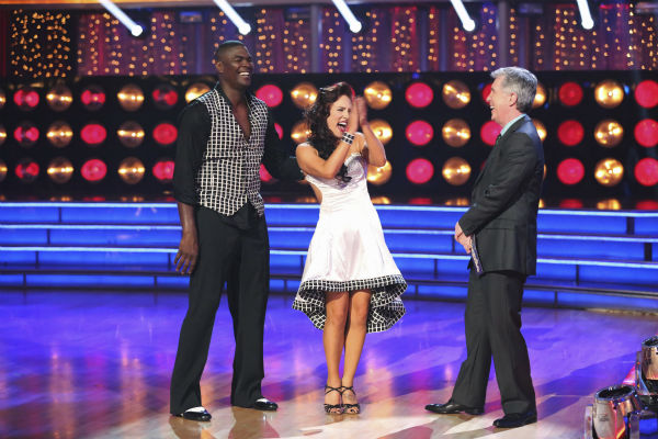 Keyshawn Johnson and Sharna Burgess await their fate on week 2 of 'Dancing With The Stars' on Sept. 23, 2013. They received 18 out of 30 points from the judges for their Samba.