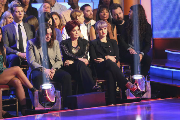 'Dancing With The Stars' competitor Jack Osbourne's parents, rocker Ozzy Osbourne and Sharon Osbourne, and sister Kelly Oscourne sit in the studio audience during a live taping of week two.