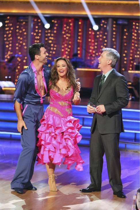 "<div class=""meta image-caption""><div class=""origin-logo origin-image ""><span></span></div><span class=""caption-text"">Leah Remini and Tony Dovolani await their fate on week 2 of 'Dancing With The Stars' on Sept. 23, 2013. They received 24 out of 30 points from the judges for their Samba. (ABC Photo / Adam Taylor)</span></div>"