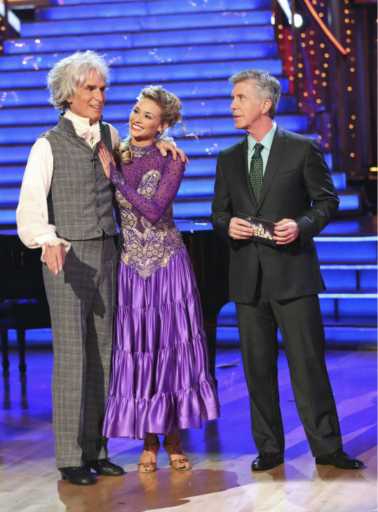 "<div class=""meta ""><span class=""caption-text "">Bill Nye and Tyne Stecklein await their fate on week 2 of 'Dancing With The Stars' on Sept. 23, 2013. They received 17 out of 30 points from the judges for their Paso Doble. (ABC Photo / Adam Taylor)</span></div>"