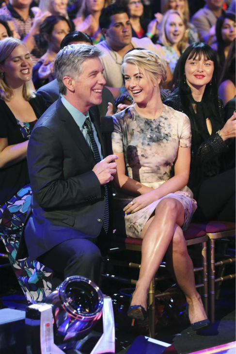 "<div class=""meta ""><span class=""caption-text "">Former pro-dancer Julianne Hough, sister of current cast member Derek Hough, talks to co-host Tom Bergeron on 'Dancing With The Stars' on Sept. 23, 2013. She is set to be a guest judge on the show. (ABC Photo / Adam Taylor)</span></div>"