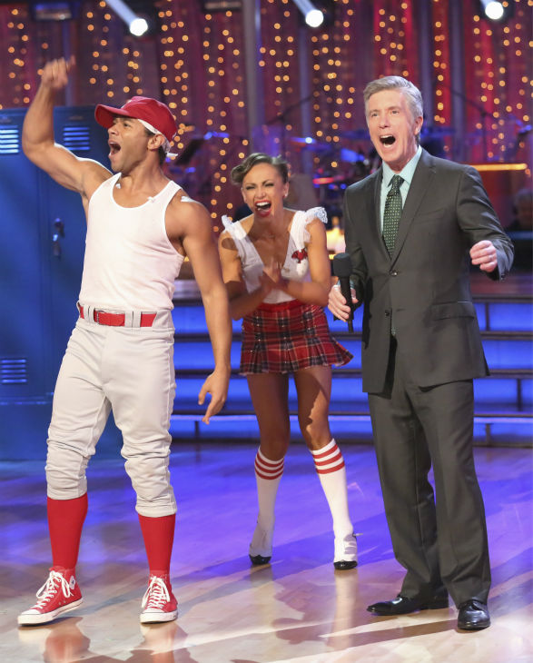 Corbin Bleu and Karina Smirnoff react to being safe on week 2 of 'Dancing With The Stars' on Sept. 23, 2013. They received 26 out of 30 points from the judges for their Jive.