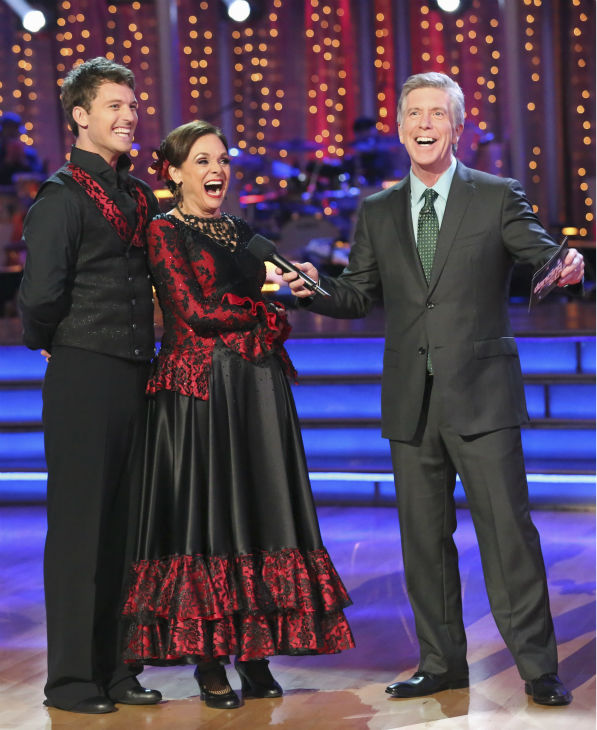 Valerie Harper and Tristan MacManus react to being safe on week 2 of 'Dancing With The Stars' on Sept. 23, 2013. They received 19 out of 30 points from the judges for their Paso Doble.