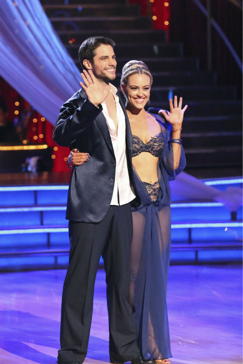 Brant Daugherty and Peta Murgatroyd await their fate on week 2 of 'Dancing With The Stars' on Sept. 23, 2013. They received 23 out of 30 points from the judges for their Rumba.