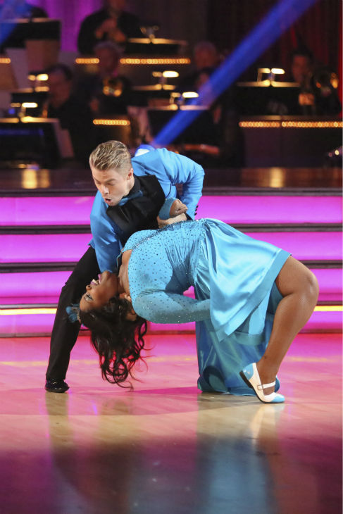 "<div class=""meta ""><span class=""caption-text "">Amber Riley and Derek Hough dance the Jive on week 2 of 'Dancing With The Stars' on Sept. 23, 2013. They received 24 out of 30 points from the judges. (ABC Photo / Adam Taylor)</span></div>"