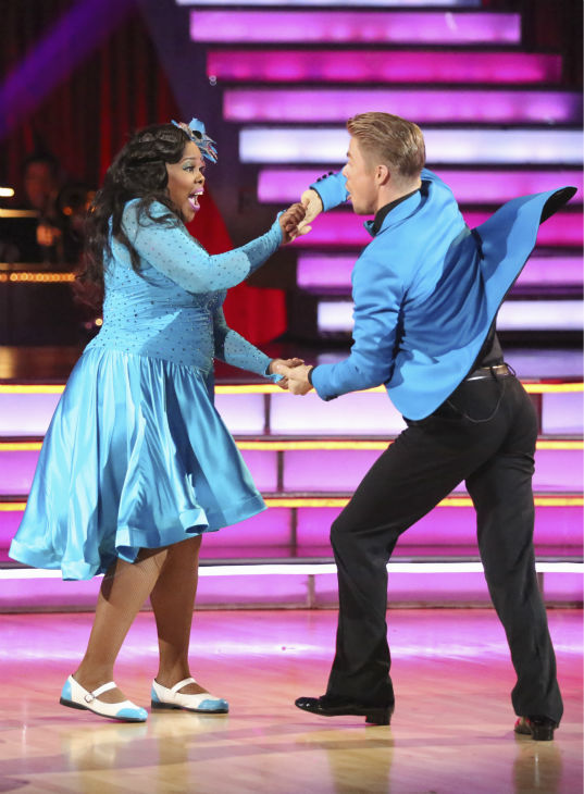 Amber Riley and Derek Hough dance the Jive on week 2 of 'Dancing With The Stars' on Sept. 23, 2013. They received 24 out of 30 points from the judges.