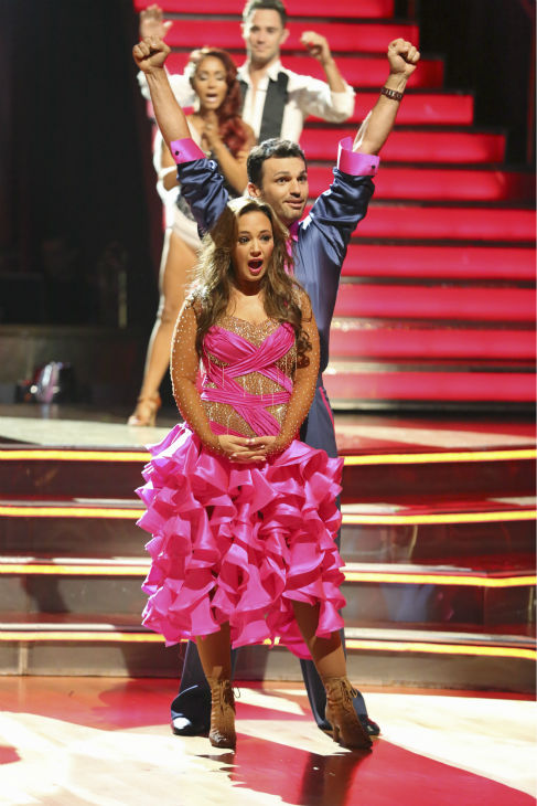 "<div class=""meta ""><span class=""caption-text "">Leah Remini and Tony Dovolani react to being safe on week 2 of 'Dancing With The Stars' on Sept. 23, 2013. They received 24 out of 30 points from the judges for their Samba. (ABC Photo / Adam Taylor)</span></div>"