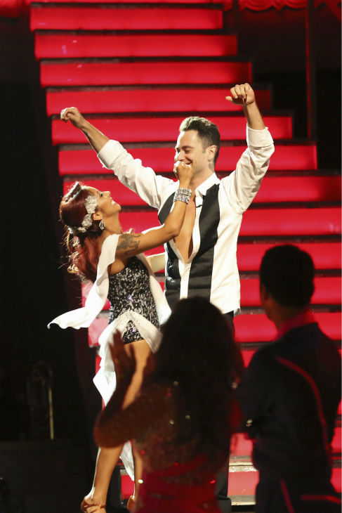 "<div class=""meta ""><span class=""caption-text "">Nicole 'Snooki' Polizzi and Sasha Farber find out they are safe from elimination on week 2 of 'Dancing With The Stars' on Sept. 23, 2013. They received 20 out of 30 points from the judges for their Rumba. (ABC Photo / Adam Taylor)</span></div>"
