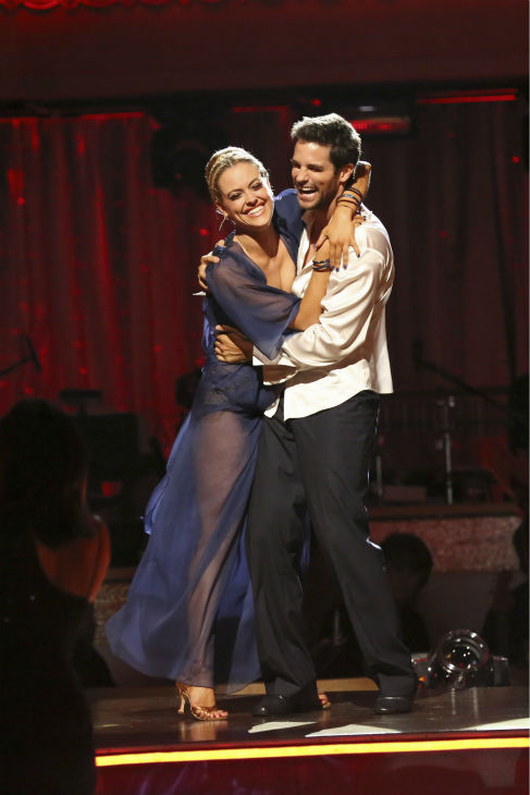 Brant Daugherty and Peta Murgatroyd react to being safe on week 2 of 'Dancing With The Stars' on Sept. 23, 2013. They received 23 out of 30 points from the judges for their Rumba.