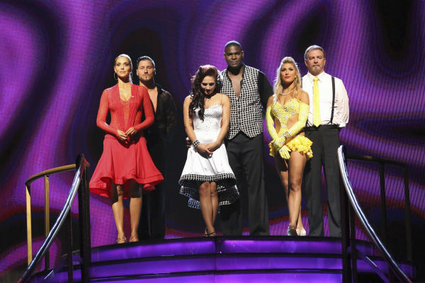 "<div class=""meta image-caption""><div class=""origin-logo origin-image ""><span></span></div><span class=""caption-text"">Elizabeth Berkley and Val Chmerkovskiy, Keyshawn Johnson and Sharna Burgess and Bill Engvall and Emma Slater await their fate on week 2 of 'Dancing With The Stars' on Sept. 23, 2013. (ABC Photo / Adam Taylor)</span></div>"
